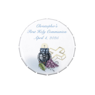 First Communion Blue Chalice, Cross and Grapes Candy Tins