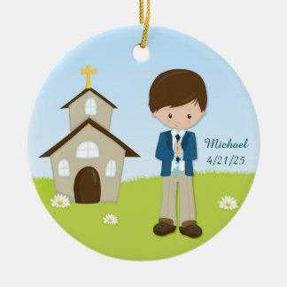 First Communion, Brunette Boy Round Ceramic Decoration