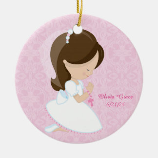 First Communion, Brunette Girl Round Ceramic Decoration