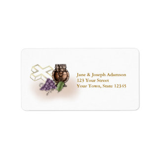 First Communion Chalice, Cross, Grapes Address Label