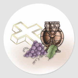 First Communion Chalice, Cross, Grapes Round Sticker