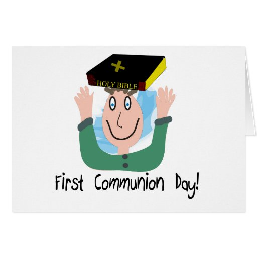 """First Communion Day~~""""Boy With Bible"""" Greeting Card"""