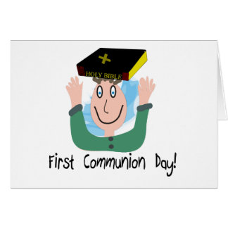"First Communion Day~~""Boy With Bible"" Greeting Card"