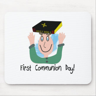 First Communion Day Boy With Bible Mouse Pad