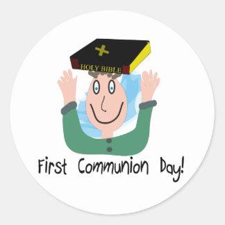 "First Communion Day~~""Boy With Bible"" Round Sticker"
