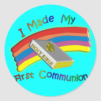 First Communion Day  T-Shirts & Gifts For Kids Round Sticker