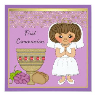 First Communion Girl in Purple 13 Cm X 13 Cm Square Invitation Card