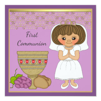 First Communion Girl in Purple Card