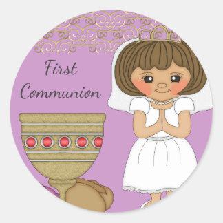 First Communion Girl in Purple Round Sticker
