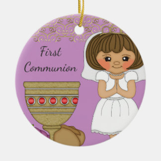 First Communion Girl in Purple With Date Christmas Ornament