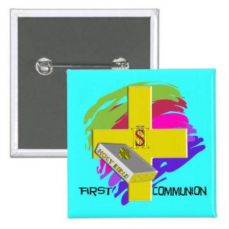 First Communion GOLD CROSS Design Button