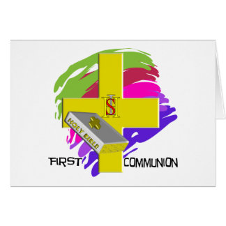 First Communion GOLD CROSS Design Greeting Card