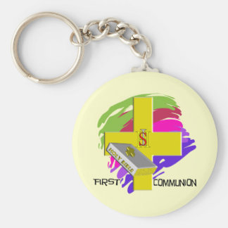 First Communion GOLD CROSS Design Key Chains