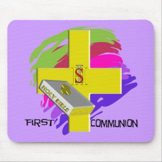 First Communion GOLD CROSS Design Mousepads