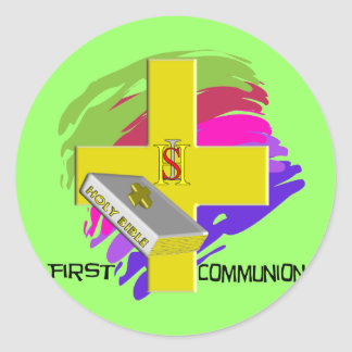 First Communion GOLD CROSS Design Stickers