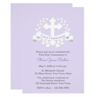 First Communion Leaf Laurel Cross Lilac Card