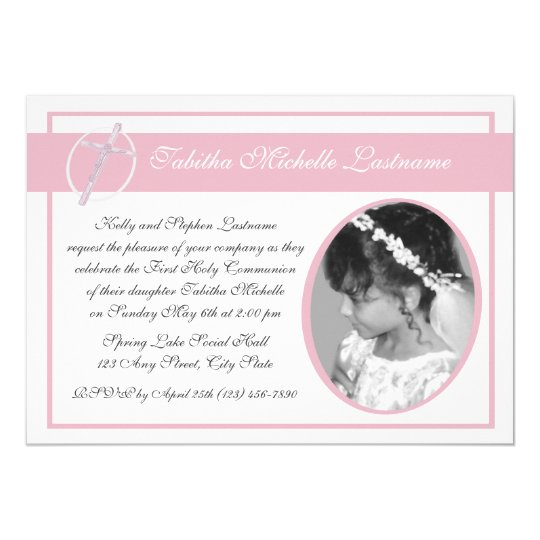 First Communion Photo Pink Card