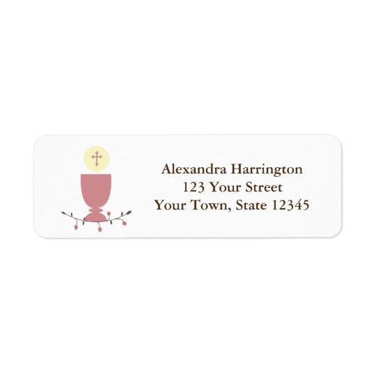 First Communion, Pink Chalice Return Address Label