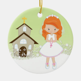 First Communion, Red Haired Girl, Church Christmas Ornament