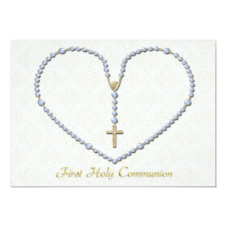 First Communion Rosary Heart Blue 13 Cm X 18 Cm Invitation Card