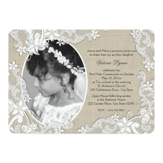 First Communion Rustic Floral with Photo Card