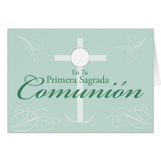 First Communion, Spanish Script on Green Card