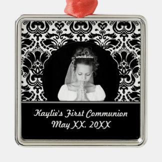 First Communion Square Photo Ornament