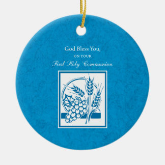 First Communion, Wheat, Grapes Blue Round Ceramic Decoration