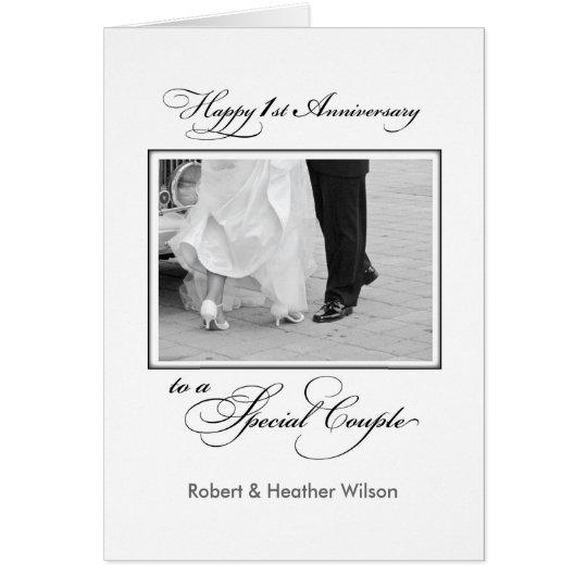 First Custom Name Wedding Anniversary Congratulati Card