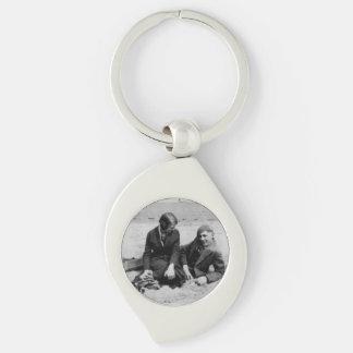 First Date Black White Image Swirl Metal Keychain Silver-Colored Swirl Key Ring