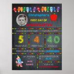 First Day Kindergarten boy,chalkboard sign,photo, Poster