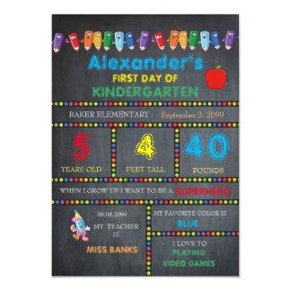 First Day Kindergarten card BOY,Chalkboard 13 Cm X 18 Cm Invitation Card