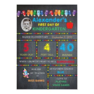 First Day Kindergarten photo card BOY,Chalkboard 13 Cm X 18 Cm Invitation Card