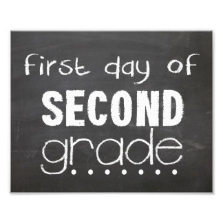 First Day of 2nd Grade Chalkboard Sign Photo Art