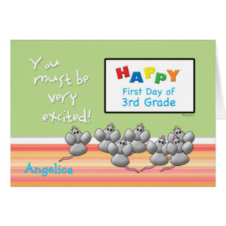 First Day of 3rd Grade Cute Mice and SMART Board Greeting Card