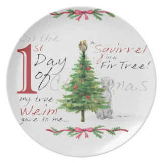 FIRST DAY OF CHRISTMAS WEIMS MELAMINE PLATE