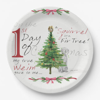 FIRST DAY OF CHRISTMAS WEIMS PAPER PLATE