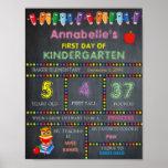 First Day of Kindergarten Sign GIRL, Chalkboard