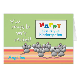 First Day of KindergartenMice and SMART Board Greeting Card