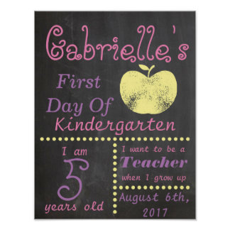 First Day of School Chalkboard Poster