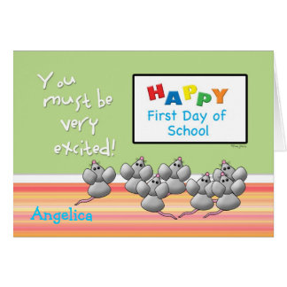 First Day of School Cute Mice and SMART Board Greeting Card
