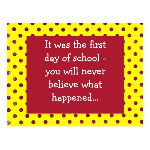First day of school post card