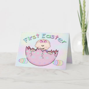 Happy first easter gifts gift ideas zazzle uk first easter baby girl greeting card negle Images