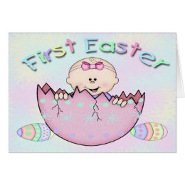 Baby girl first easter gifts on zazzle uk first easter baby girl greeting card negle Images