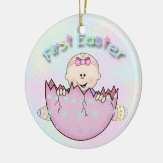 First Easter Baby Girl Round Ceramic Ornament
