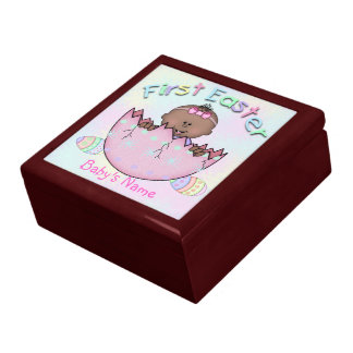 First Easter Ethnic Baby Girl Gift Box/Trinket Box Large Square Gift Box