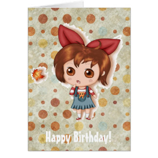 First Fallen Leaf Of Autumn Chibi Greeting Card