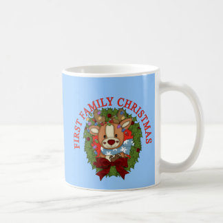 FIRST FAMILY CHRISTMAS with Wreath Basic White Mug