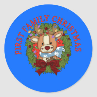 FIRST FAMILY CHRISTMAS with Wreath Round Sticker