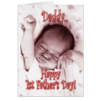First Father's Day from Daughter - Stretching Girl Greeting Card